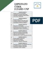GRUPOS CAMPEONATO INTERFACULTADES