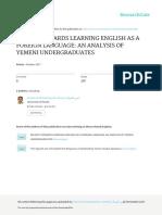 BELIEFS TOWARDS LEARNING ENGLISH AS A FOREIGN LANGUAGE AN ANALYSIS OF YEMENI UNDERGRADUATES