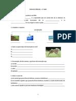 Ficha de Ciências - 5.º Ano Locomoção