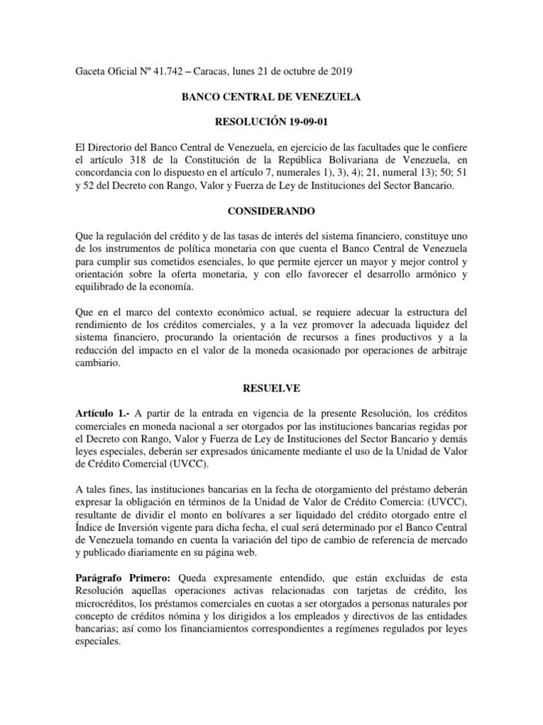 Bcv Resolución 19 01 01 Bancos Bancos Centrales