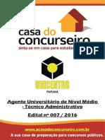 Apostila Unicentro 2016 Agente Nivel Medio Tecnico Adminis