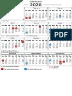 Calendario Feriado y Bancario 2020 Mejorado