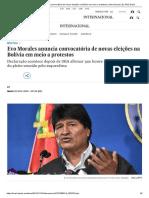Evo Morales Anuncia Convocatória de Novas Eleições Na Bolívia Em Meio a Protestos _ Internacional _ EL PAÍS Brasil