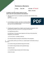 Worksheet on Mechanics