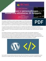 Modificare e personalizzare Wordpress attraverso 20 Snippets