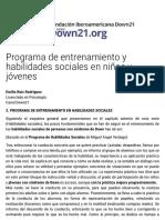 Programa de entrenamiento y habilidades sociales en niños y jóvenes -