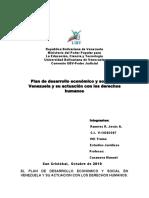 El Plan de Desarrollo Economico y Social en Venezuela y Su Actuacion Con Los Derechos Humanos