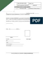 Formato de Autorizacion de Descuento 2019