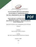 Gestion Financiera Presupuestal Eficacia Eficiencia Municipalidad Zamata Itusaca Elviana