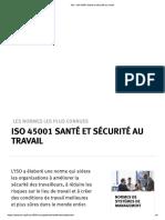 ISO - IsO 45001 Santé Et Sécurité Au Travail
