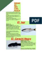 Biodiversidad de Las Especies acticas Del Lago Titicaca