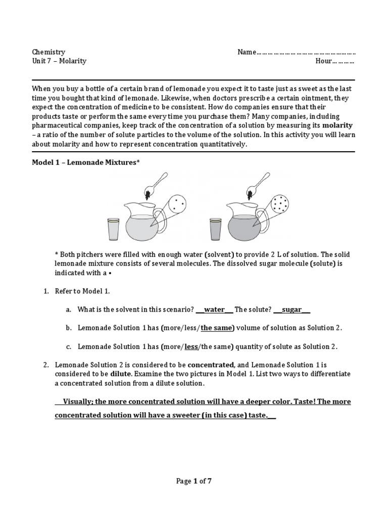 Molarity POGIL Key   Molar Concentration   Solution
