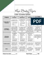 Color Wheel Student Checklist - Color Scheme Option