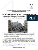 1. Le Seisme Et Les Sites Constructibles