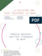 Ethic Behaviour and Fair Treatment in Hr
