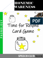 Rhyme Phone Mic Awareness Time for Rhyme Card Game