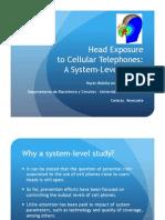 Head exposure to cellular phones