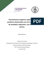 Pensamientos Negativos Repetitivos y Positivos Relacionados Con Los Trastornos de Ansiedad y Depresion Una Revision Teorica.