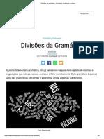 Divisões Da Gramática - Fonologia, Morfologia e Sintaxe