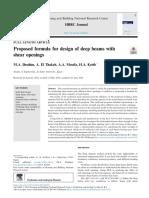 Proposed Formula for Design of Deep Beam