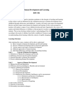 Course Outline Human Development and Learning