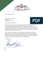 Eduardo Bhatia envía carta a Thomas Rivera Schatz