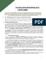UNIDAD 9. LA RESTAURACIÓN MONÁRQUICA