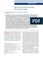 Long-term Stability Postretention Changesof the Mandibular Anterior Teeth