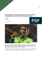 Cuánto Pagan Por Medalla Algunos Países de América Latina a Sus Deportistas Que Participan en Las Olimpiadas de Río - BBC News Mundo