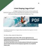 El Control Anti Doping Llega Al Surf - ToDOSURF