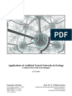 Applications of Artificial Neural Networks in Ecology - A critical review of the used techniques