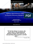 Building a High Performance Culture and the Business Performance Management