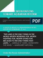 Post-war Interventions Toward Agrarian Reform
