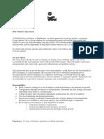 Job Description- Operations