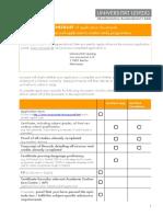 Master Application Checklist
