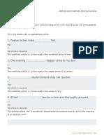 Definite and Indefinite Articles Exercise (9)