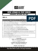 NTSE 2020 SAT Sample Mock Test Paper 1