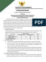 Pengumuman Seleksi CPNS Kota Pekanbaru Tahun 2019