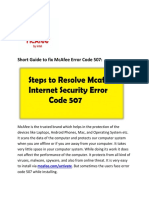 Short Guide to Fix McAfee Error Code 507