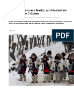 Cele Mai Frumoase Tradiţii Şi Obiceiuri Ale Românilor de Crăciun