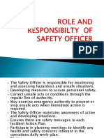 Role and Responsibilty of Safety Officer