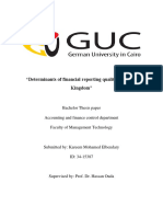 Determinants of Financial reporting quality in United Kingdom