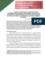 Artigo - A Importancia Da Conciliação e Mediação Como Ferramente Extrajudicial de Inserção Aos Metodos Alternativos Para Resolução de Conflitos