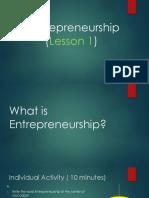 Entrepreneurship Lesson 1