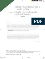 FLEURY, Sonia. Redes de políticas - novos desafios para a gestão pública
