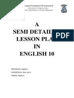 A Semi Detailed Lesson Plan - BONES