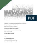 Lead Engineer Infrastructure Implementation Engineering CBS Corporation