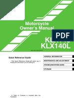 Kawasaki KLX140 Owners Manual Eng