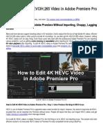 How to Edit 4K HEVCH.265 Video in Adobe Premiere Pro