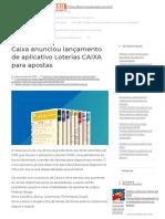 Caixa Anunciou Lançamento de Aplicativo Loterias CAIXA Para Apostas